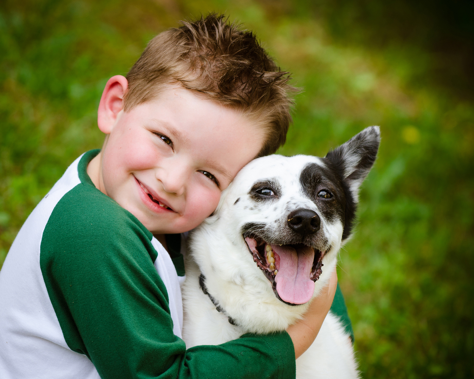 little kid and dog